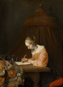 vermeer paintings a lady writing a paper