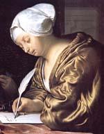 Girl, writing letter by Jan Vermeer