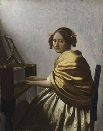 A Young Woman Seated at the Virginal attributed to Johannes Vermeer