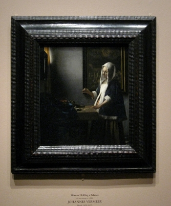 Johannes Vermeer's Woman Holding a Balance, with frame