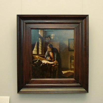 The Geographer in its frame, Johannes Vermeer