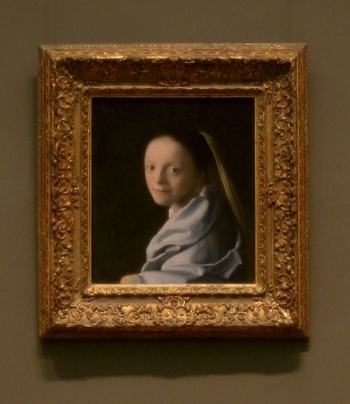 Johannes Vermeer's Study of a Young Woman with frame