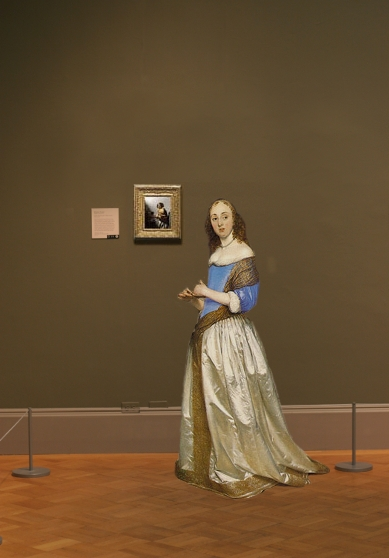 A Young Woman Seated at the Virginal (attributed to Johannes Vermeer) in scale