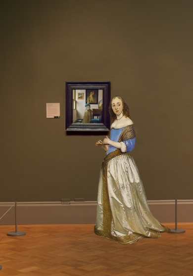 Johannes Vermeer's A Lady Standing at a Virginal in scale