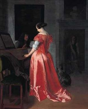 A Woman standing at a Harpsichord, a Man Seated by Her, Jacob Ochtervelt