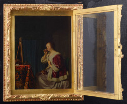 Painting by Frans van Mieris in a wooden box