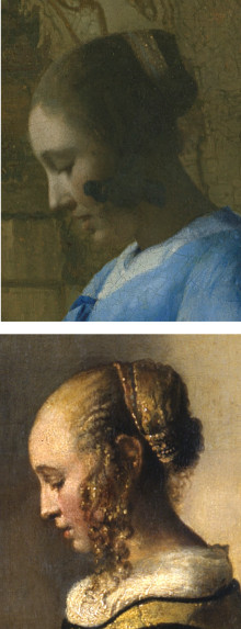 Details of WOman in Blue reading a Letter and Girlw Reading a Letter at an Open Window by Johannes Vermeer