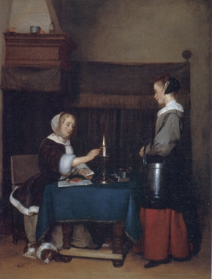 Woman Writing a Letter, with her Maid by Johannes Vermeer