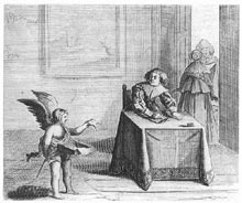 Cupid Presenting a Letter to a Maiden, Emblem from Jan Harmenz. Krul