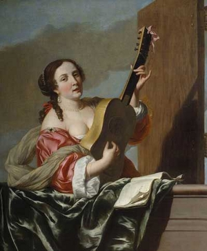 A Lady Playing a Guitar on a Balcony, attributed to Jan Gerritsz van Bronckhorst