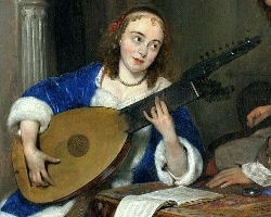 A Woman Playing the Theorbo-Lute and a Cavalier, Gerrit ter Borch