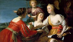 Diana Resting after the Hunt with Shepherdesses and Greyhounds, Gerrit van Honthorst