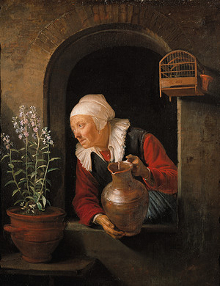 Old Woman with Jug at a Window,  Gerrit Dou