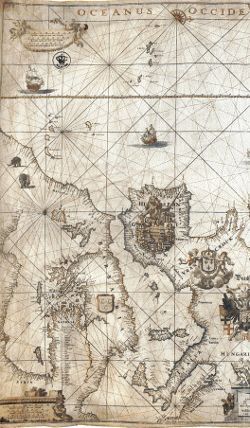 Sea chart in Johannes Vermeer's The Geographer