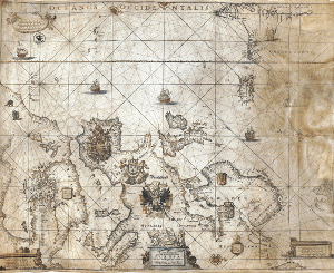 Sea chart with the coasts of Europe,