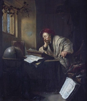 A Scholar Seated at his Writing Desk in an Interior, Hendrick De Heerschop