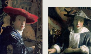 Girl with a Flute and Girl with a Red Hat by Johannes Vermeer