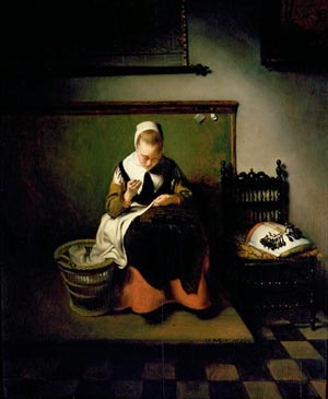 A Woman Making Lace, Nicolaes Maes