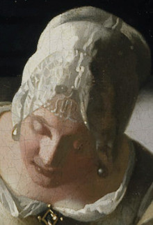 Lady Writing a Letter with her Maid, (detail), Johannes Vermeer