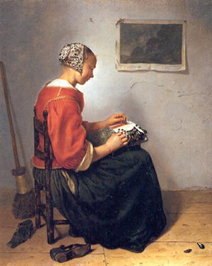 The Lace-Maker, Caspar Netscher