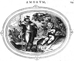 Cupid with a Messanger, emblem from Otto Vaenius, Amorum Emblemata