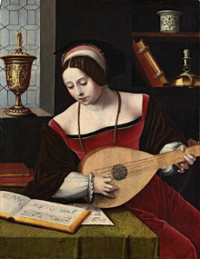 A Lady Playing a Lute in an Interior, The Master of the Female Half-Lengths