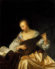 Woman Playing a Theorbo-Lute, Frans van Mieris