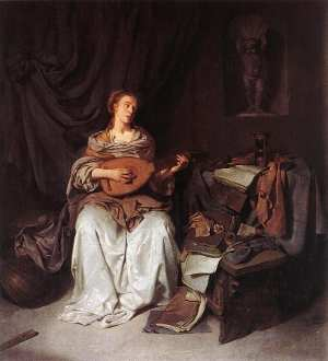 Woman Playing a Lute, Cornelis Bega