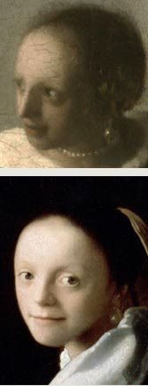 Details of Johannes Vermeer's Study of a Young Woman and Woman with a Lute