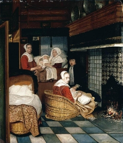 Interior with a Family and Two Nurses before a Fire, Cornelis de Man