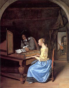 A Young Woman Playing a Harpsichord, Jan Steen