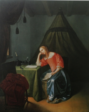 Young Girl Reading a Letter, Caspar Netscher