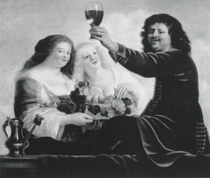 Man with a Wineglass and Two Women with a Fruitbasket, Christiaen van Couwenberg