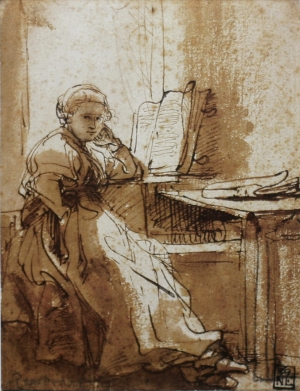 Saskia Seated before a Window Looking Up from a Book, Rembrandt van Rijn
