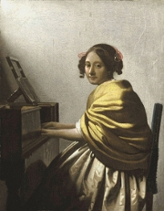 A Young Woman Seated at the Virginal, (attributed to Vermeer)