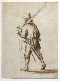 A Walking Musketeer Seen from Behind, Anthonie Palamedesz