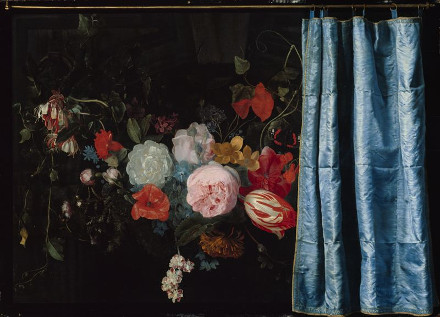 Flower Still Life with Curtain, Adrian van der Spelt and Frans van Mieris