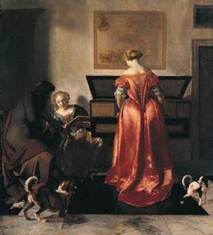 Woman playing a Virginal, Another singing and a Man playing a Violin, Jacob Ochtervelt, Jacob Ochtervel