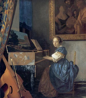 A Young Woman Seated at the Virginal with frame, (attributed to Vermeer)