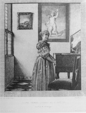 Etching by Henri-Augustin Valentin after Vermeer, Woman Standing at a Virginal