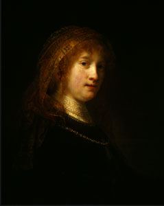 Saskia van Uylenburgh, the Wife of the Artist, Rembrandt van Rijn