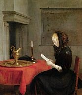Woman in Mourning Clothes Reading a Letter, Gerrit ter Borch