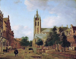 >The Oude Kerk on the Oude Delft in Delft, Jan van der Heyden