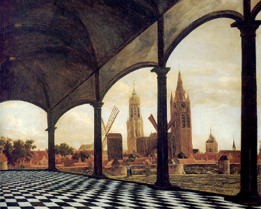 View of Delft with a Fantasy Loggia, Daniel Vosmaer