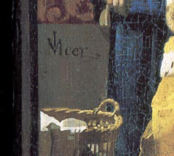 The Love Letter (detail of signature), Johannes Vermeer