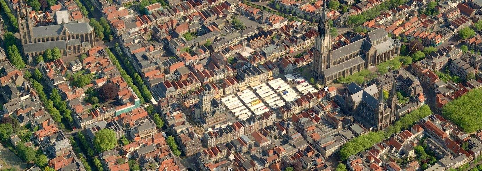 Birdseye view of Delft Holland