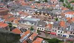 arial view of the site of the resconstructed Guild of St. Luke in Delft