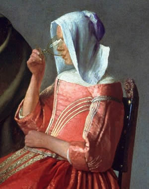 The Glass of Wine (detail), Johannes Vermeer