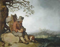 A MAn with his Dog in a Landscape, Abraham Bloenaert