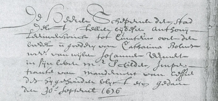 The Delft Archives conserves this document, dated 30 September, 1676, which nominates the naturalist Antonie Leeuwenhoek as the executor of Vermeer's last estate